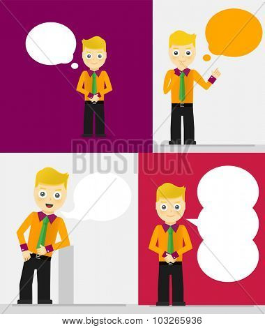 Set of young businessmen with speech bubbles. Talking, thinking concept. Flat design illustration