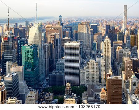 NEW YORK,USA - AUGUST 15,2015 : Aerial view of midtown New York with the Rockefeller Center, the Bank of America tower, the Metlife and other landmarks