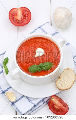 Tomato Soup With Tomatoes And Baguette In Cup