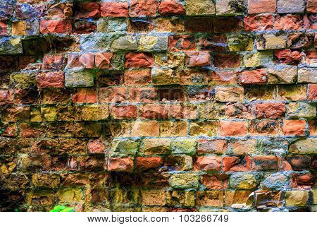 old red brickwork - abstract background texture