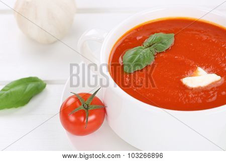 Fresh Tomato Cream Soup With Tomatoes In Bowl