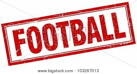 Football Red Square Grunge Stamp On White