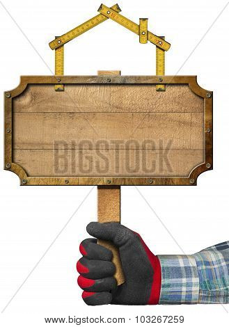 Wooden Sign For Construction Industry