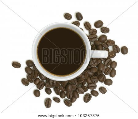 coffee cup with coffee beans around
