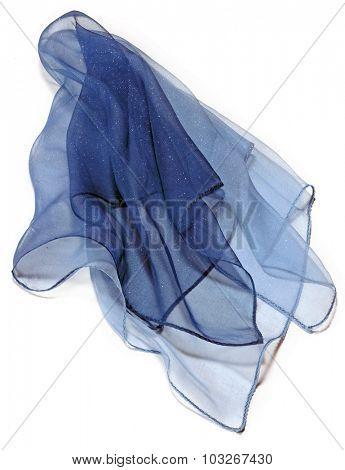 blue silk transparent foulard over white