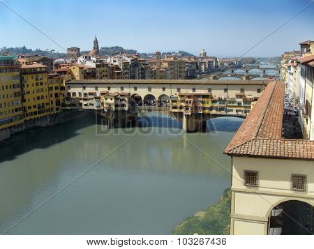 Florence, Italy, the famous Ponte Vecchio over Arno River