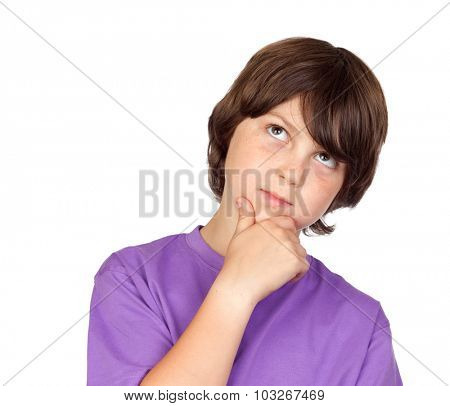 Pensive preteen boy isolated on a white background
