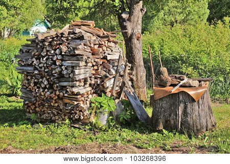 Stump And Heap Of Chopped Firewoods On Green Grass