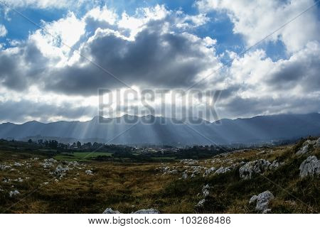 Landscape With Clouds At Guadamia, Asturia Y Cantabria, Spain