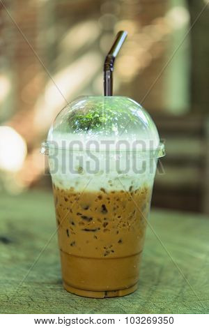 Coffe Cold On Wooden Table Brown  Background