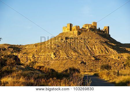 Ruins Of A Castle At Montearagon, Huesca, Aragon, Spain
