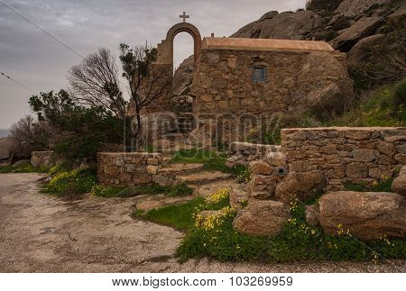 Little Scenic Church At The Side Of The Road, Mikonos, Greece