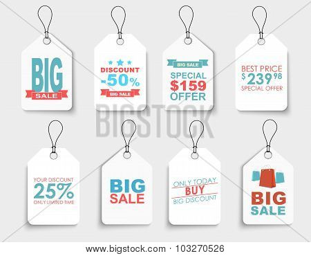 Set Of White Price Tags Of Different Shapes