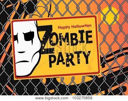 Halloween Zombie Party Invitation Poster.