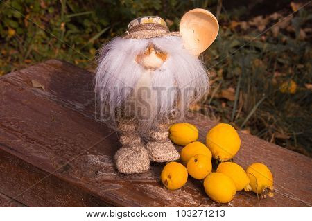 The Magic Little Man With A Beard And A Wooden Spoon On The Cut Tree Near Quince Fruits
