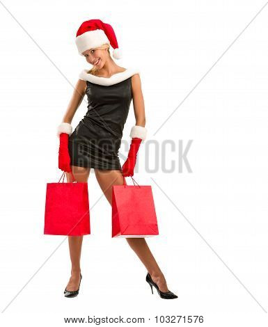 Happy Christmas Girl With Shopping Bags