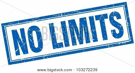 No Limits Blue Square Grunge Stamp On White