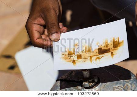 Ait Ben Haddou Morocco - Circa September 2015 - an artist heat painting ait ben haddou