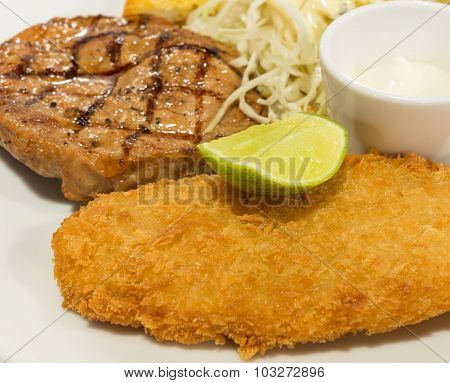 Breaded Fish Steak With A  In Selective Focus