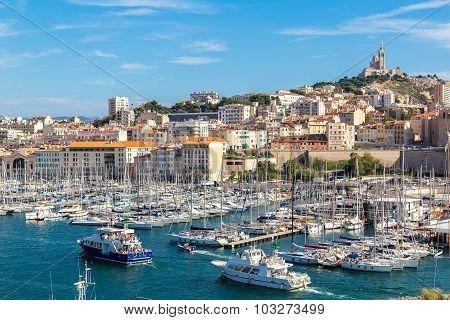 Notre Dame De La Garde And Olf Port In Marseille, France