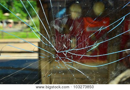 crack in the glass pane