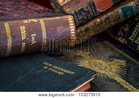 Old Antique Gilded Bibles And Books