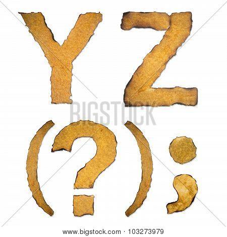 Old, Vintage Alphabet Yz