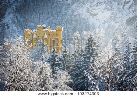 Hohenschwangau Castle in wintery landscape, Germany