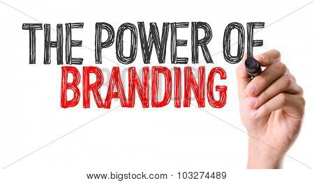 Hand with marker writing: The Power of Branding
