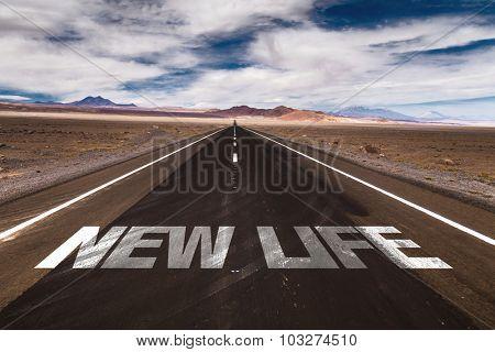 New Life written on desert road