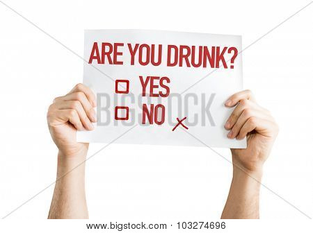 Are You Drunk? placard isolated on white