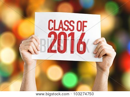Class of 2016 placard with bokeh background
