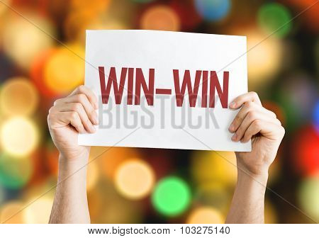 Win-Win placard with bokeh background