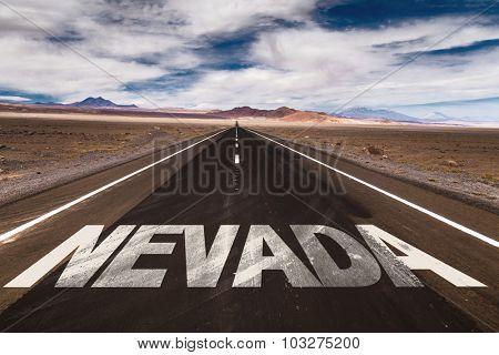 Nevada written on desert road