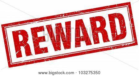 Reward Red Square Grunge Stamp On White