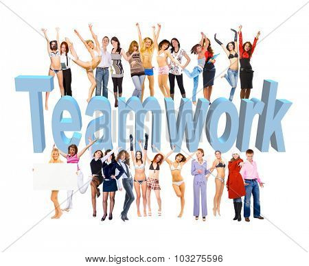 With a word Teamwork And Any Words You Add