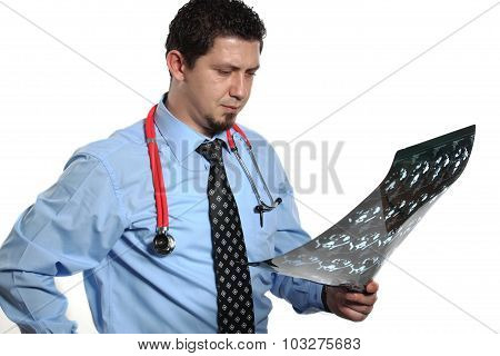 Doctor Diagnosing X-ray Image