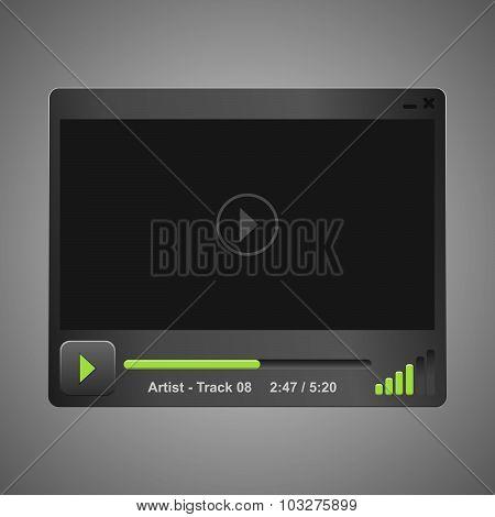 Vector dark audio, video player
