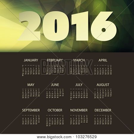 Calendar 2016 Template with Green and Yellow Triangular Geometric Background. Vector Illustration