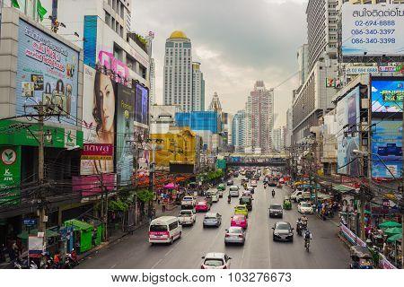 Street Scene With Transport . Bangkok