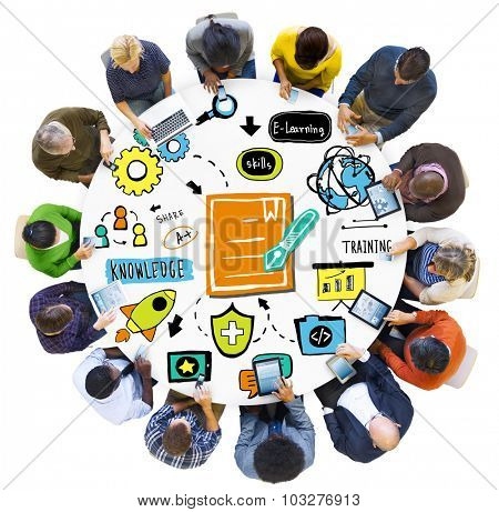 Diversity Group of People Training Digital Devices Meeting Concept