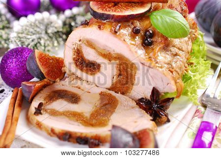 Loin Of Pork Stuffed With Figs For Christmas