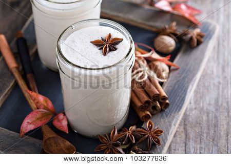 Warm frothy milk with spices