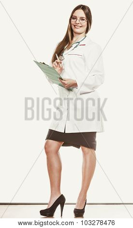 Woman Doctor With Stethoscope, Clipboard And Pen.