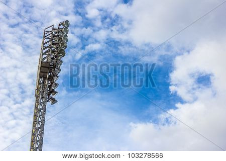 Stadium Light With Blue Sky And Cloud