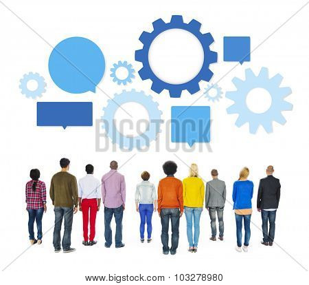 Multiethnic People Facing Back with Gears and Speech Bubbles Above