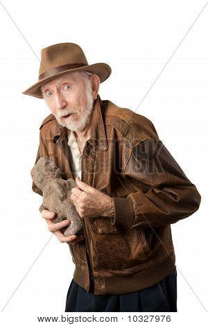 Adventurer Or Archaeologist With Stolen Idol