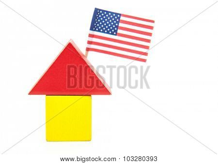 Stylized home with US flag. All on white background