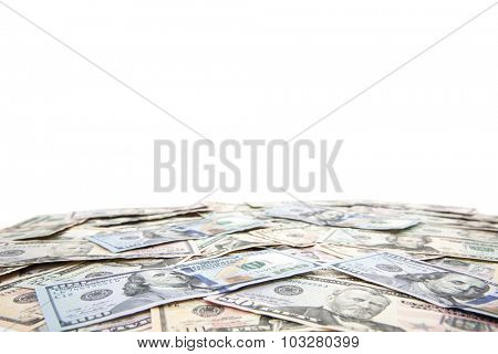 Various dollar notes background concept