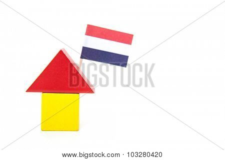 Stylized home with dutch flag. All on white background